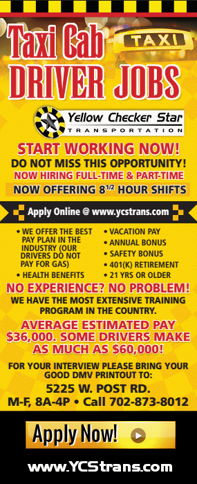 Taxi Cab Driver Jobs Available at Yellow-Checker-Star Taxi Cab Services - Apply Today at: www.YCS.trans.com - CLICK HERE TO APPLY NOW