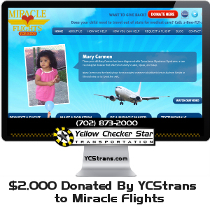 $2,000 Donation to Miracle Flights by Yellow-Checker-Star Transportation