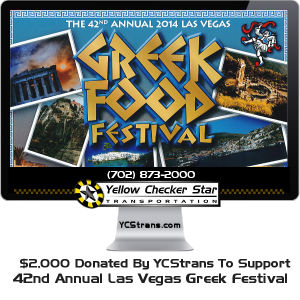 $2,000 Donation in support of the 42nd Annual Las Vegas Greek Festival by Yellow-Checker-Star Transportation