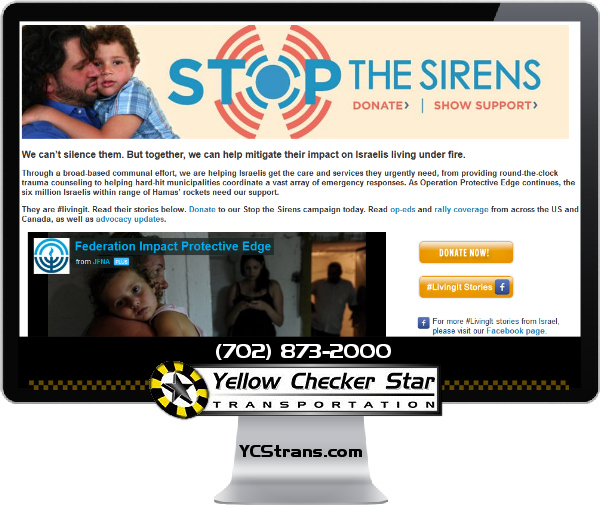 $5,000 Donation to Israel Emergency Fund by Yellow Checker Star - YCStrans.com
